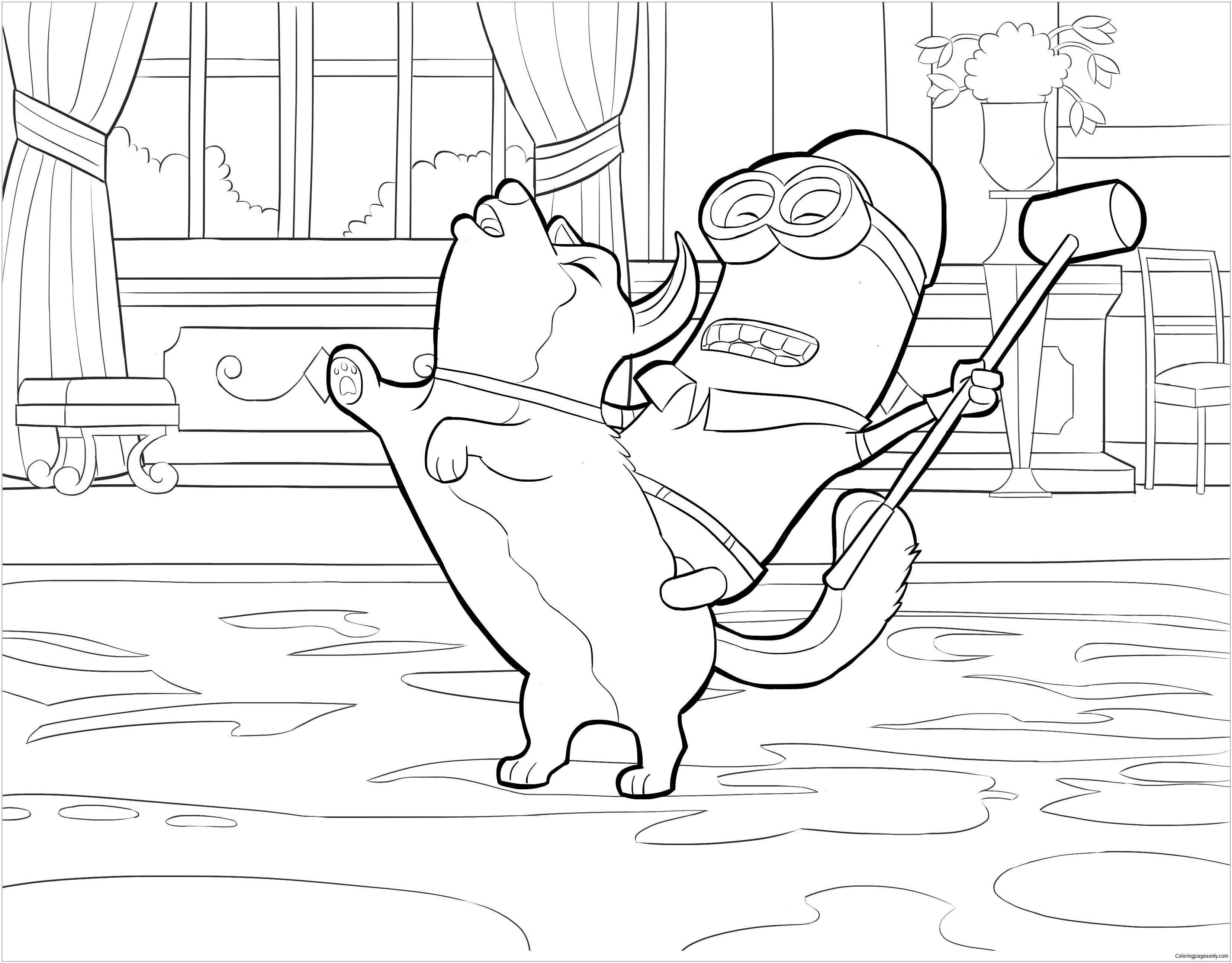 Kevin Riding Dog Coloring Page