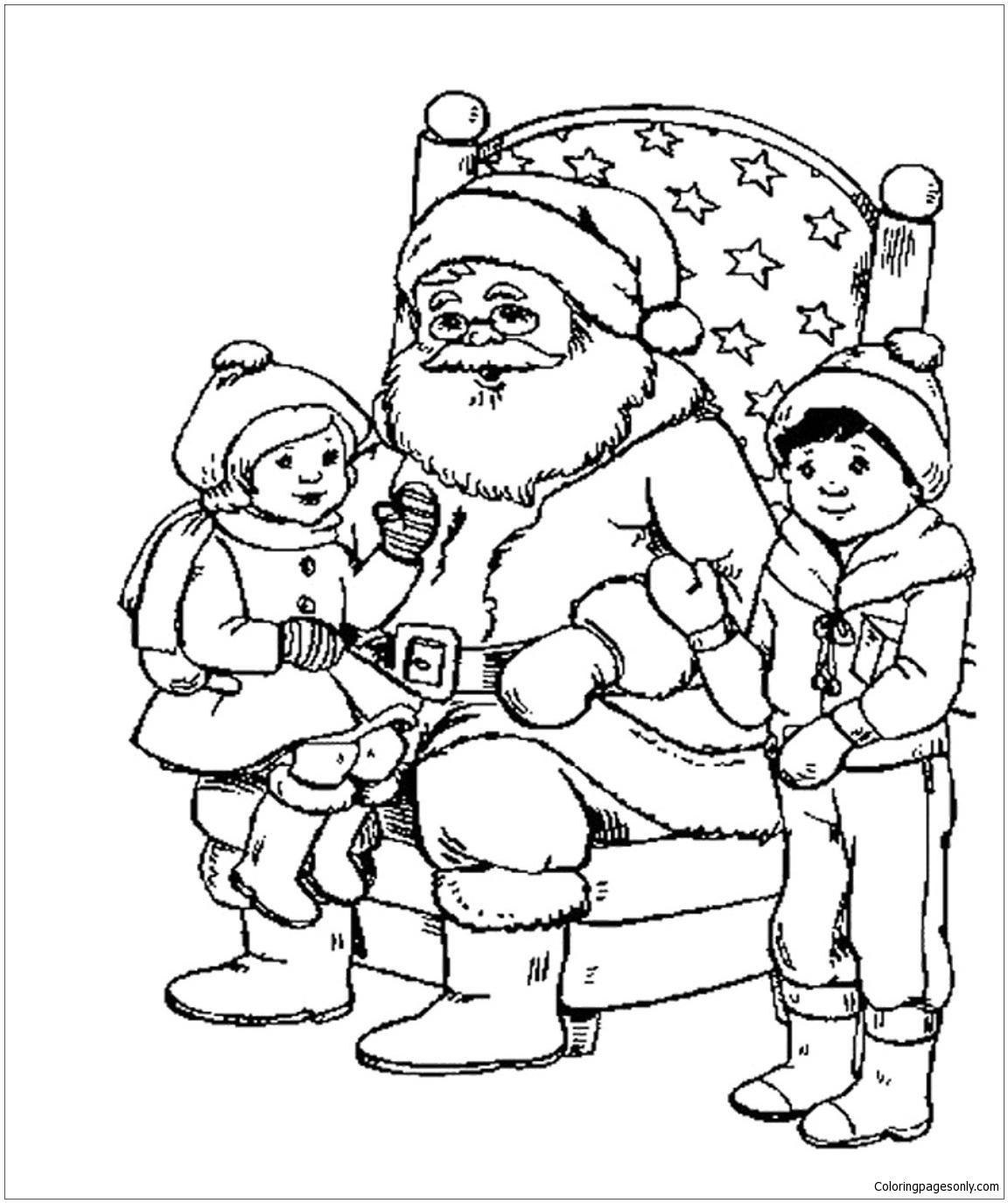 Kids And Santa Christmas Coloring Page