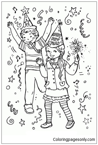 Kids Celebrate New Year Coloring Page