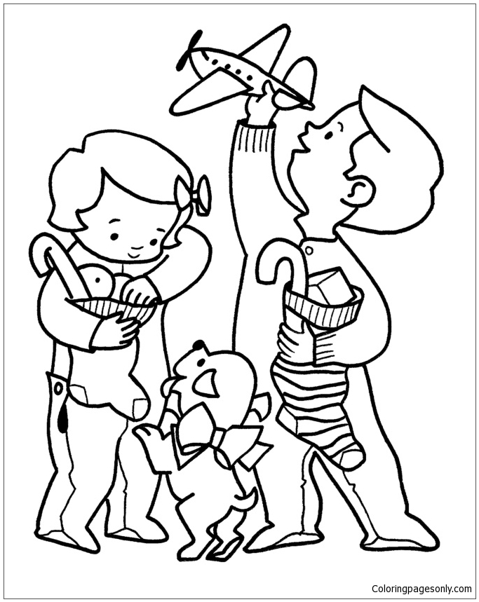 Kids Christmas Morning Coloring Page
