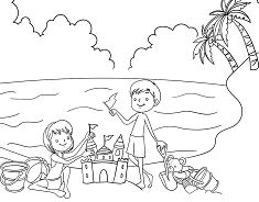 Kids Enjoying in Beach during Summer Coloring Page