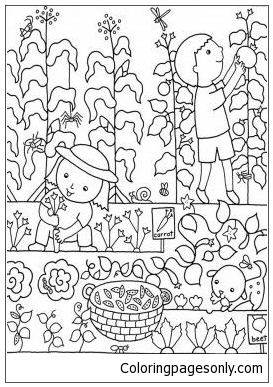 Kids Flower Gardens Coloring Page