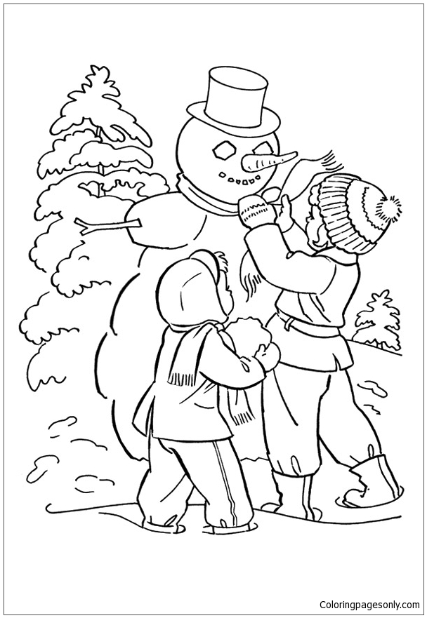 Kids Making A Snowman in Cold Season Coloring Page - Free ...