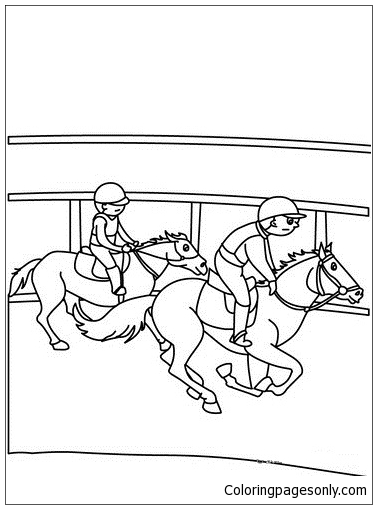 Kids On Horses Coloring Page