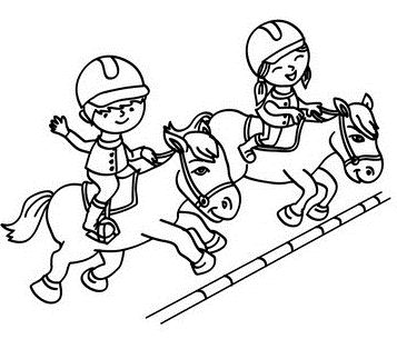 Kids On Jumping Horses