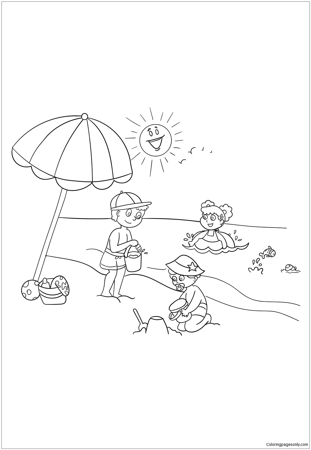 Kids Playing At Beach Coloring