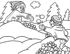 Kids Playing Snow In The Winter 1 Coloring Page