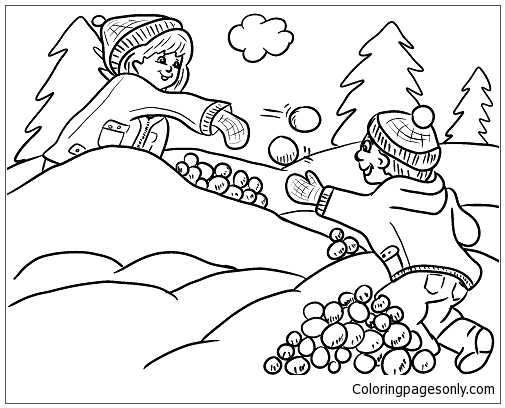 Kids Playing Snow In The Winter 1 Coloring Page - Free ...