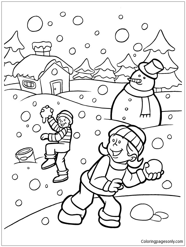 Kids Playing Snow In The Winter Coloring Page