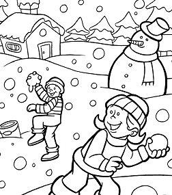 Kids Playing Snow Winter Coloring Page