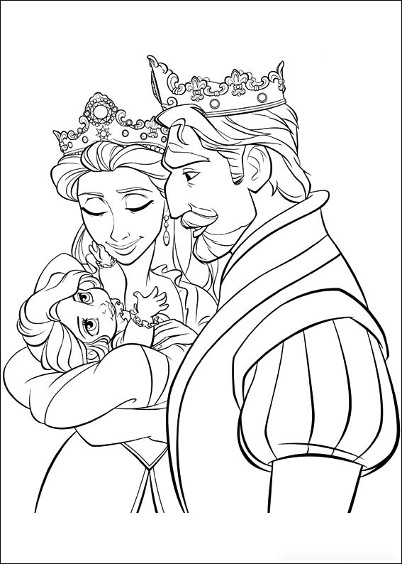 King Frederic, Queen Arianna and Baby Rapunzel Coloring Page
