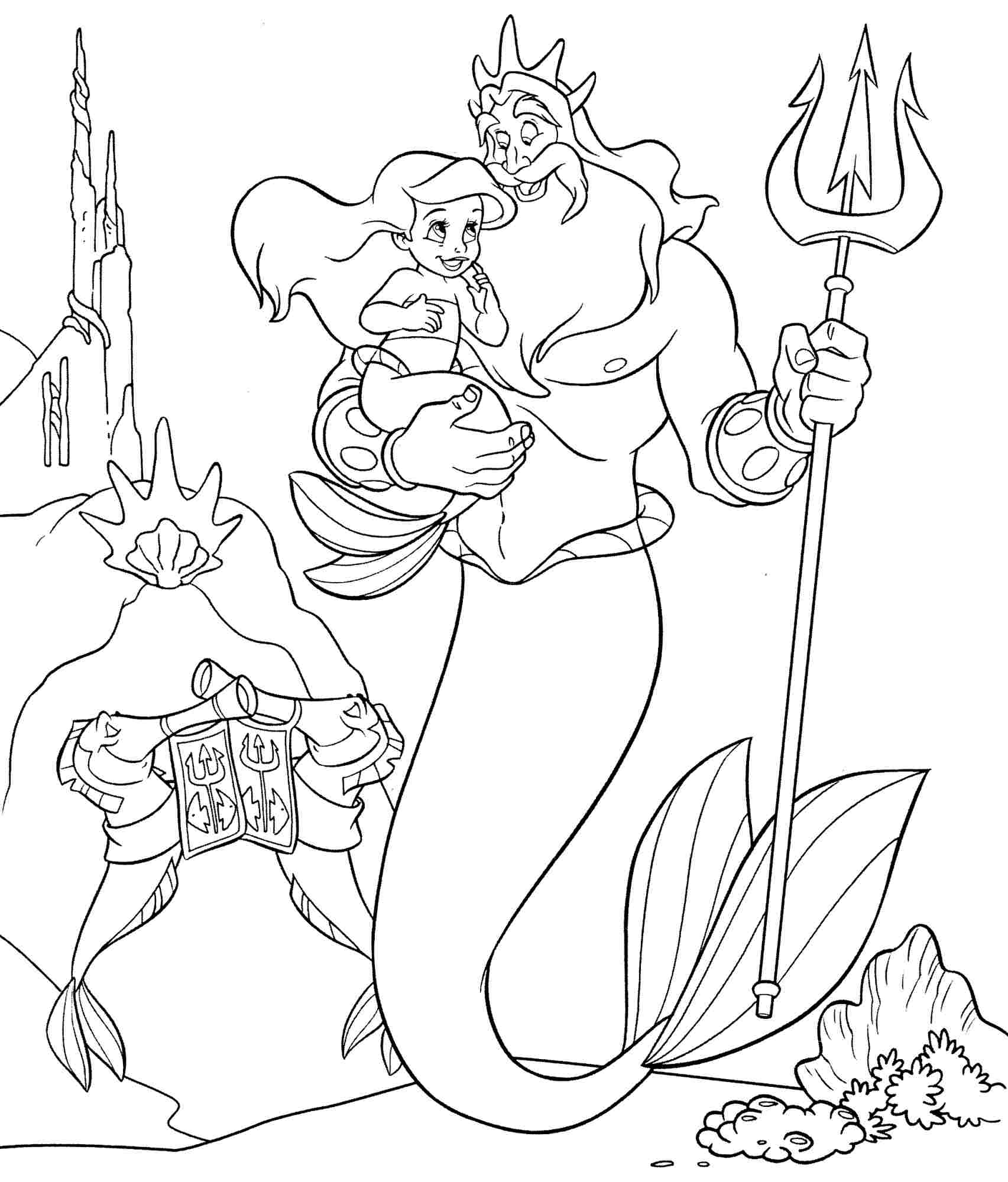 King Triton and daughter Coloring Page
