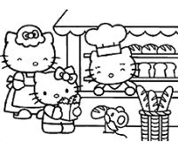 Kitty As Chef Coloring Page