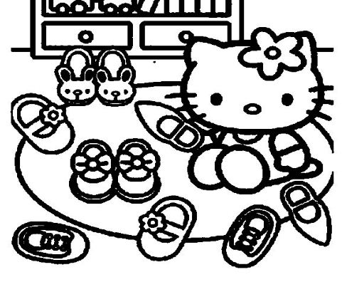 Kitty With Her Shoes Coloring Page