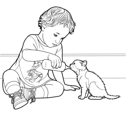 Kitty Drinks Milk Coloring Page