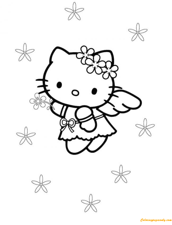 Kitty Little Angel  Coloring Page