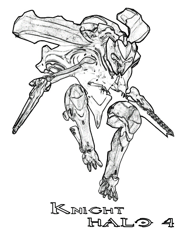 Knight Halo 4 Coloring Page