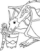 Knight Takes Care Of His Dragon