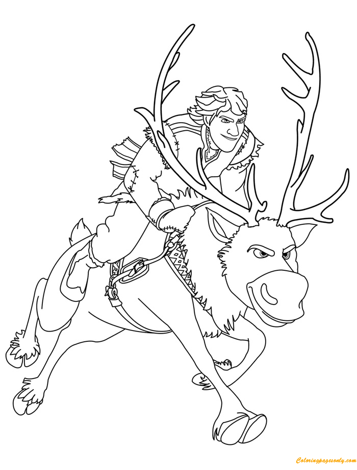 kristoff and sven coloring page - Sven Reindeer Coloring Pages