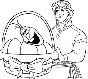Kristoff Easter Basket With Eggs And Olafs Head Coloring Page