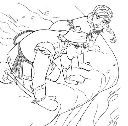 Kristoff And Anna with At His Destroyed Sled Coloring Page