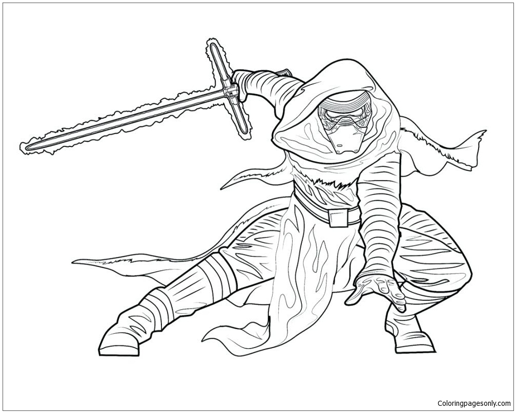 Kylo Ren From Star Wars Coloring Page Free Coloring Pages Online
