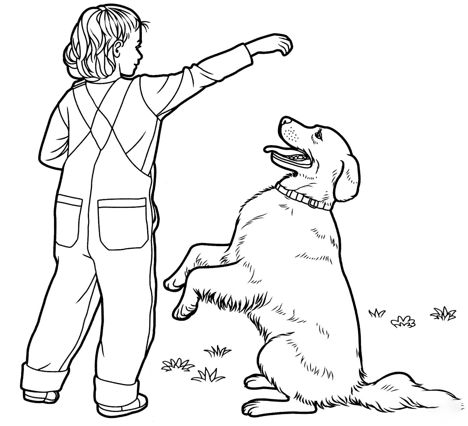Labrador and a kid Coloring Page