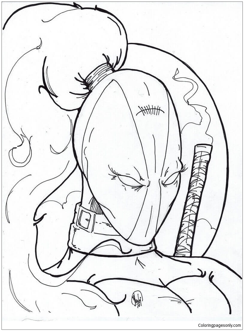 Lady Deadpool Coloring Page Free