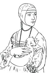 Lady With An Ermine Renaissance Art Coloring Page