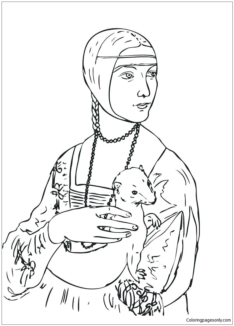 Lady With An Ermine Renaissance Art Coloring Page - Free ...