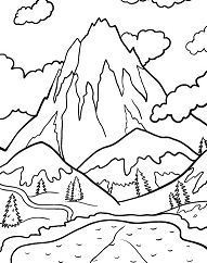 Lake And Mountains Coloring Page