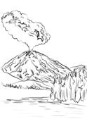 Lassen Peak Volcano Eruption Coloring Page