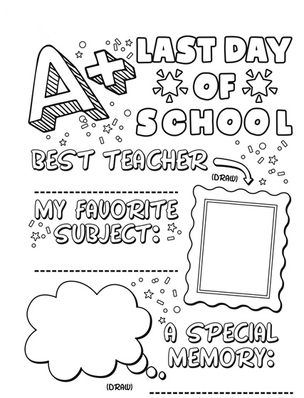 Last day of school sign Coloring Page