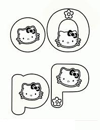 Hello Kitty with two letter O and P Coloring Page