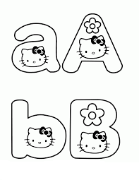 Learning letter A and B With Hello Kitty Coloring Page