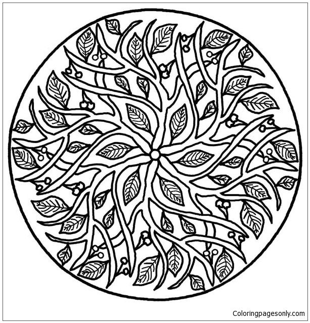 Leaves Mandala Coloring Page