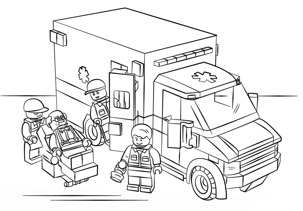Lego City Ambulance Coloring Page