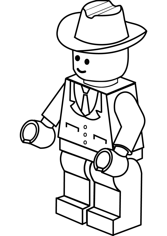 Lego City Cowboy Hat Coloring Page