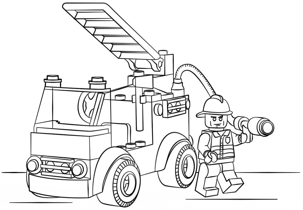 Lego City Fire Truck Coloring Page