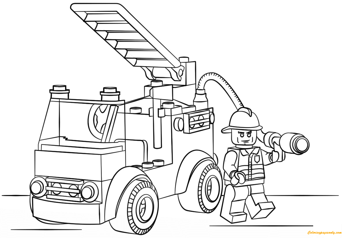 Lego city fire truck coloring page free pages