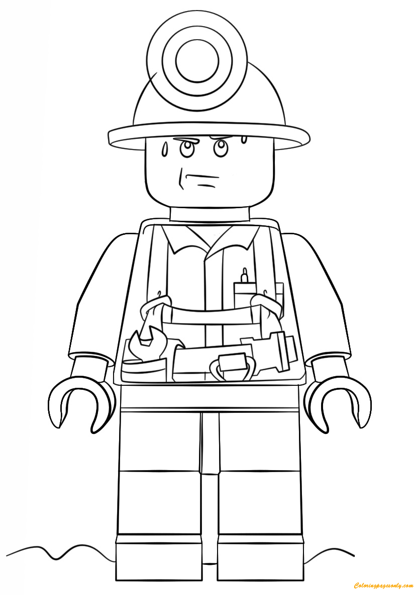 Lego City Mini Figure Miner Coloring