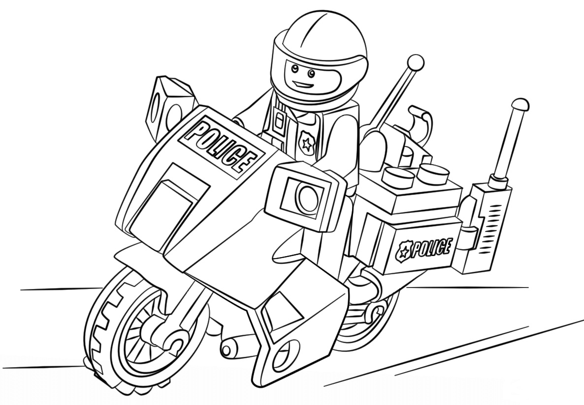 Lego City Motorcycle Police Coloring Page