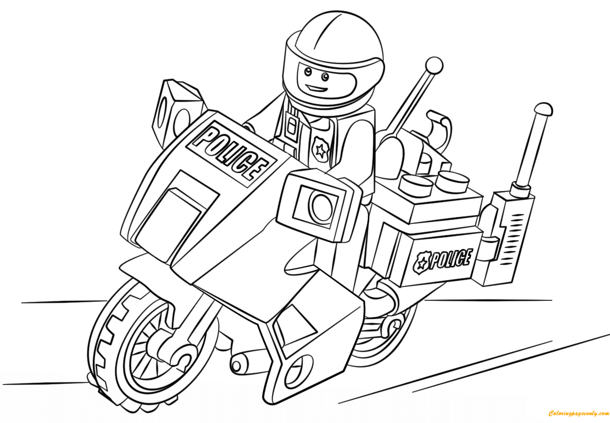Lego City Motorcycle Police Coloring