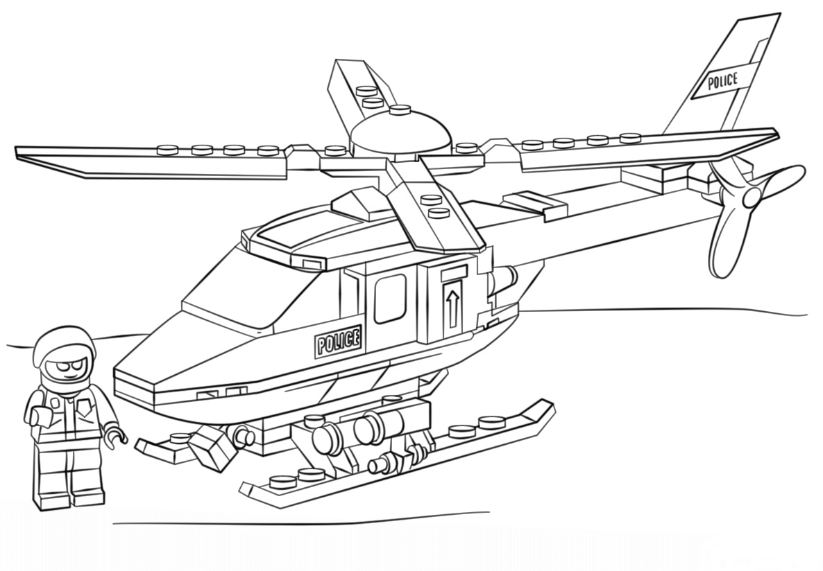 Lego City Police Helicopter Coloring Page
