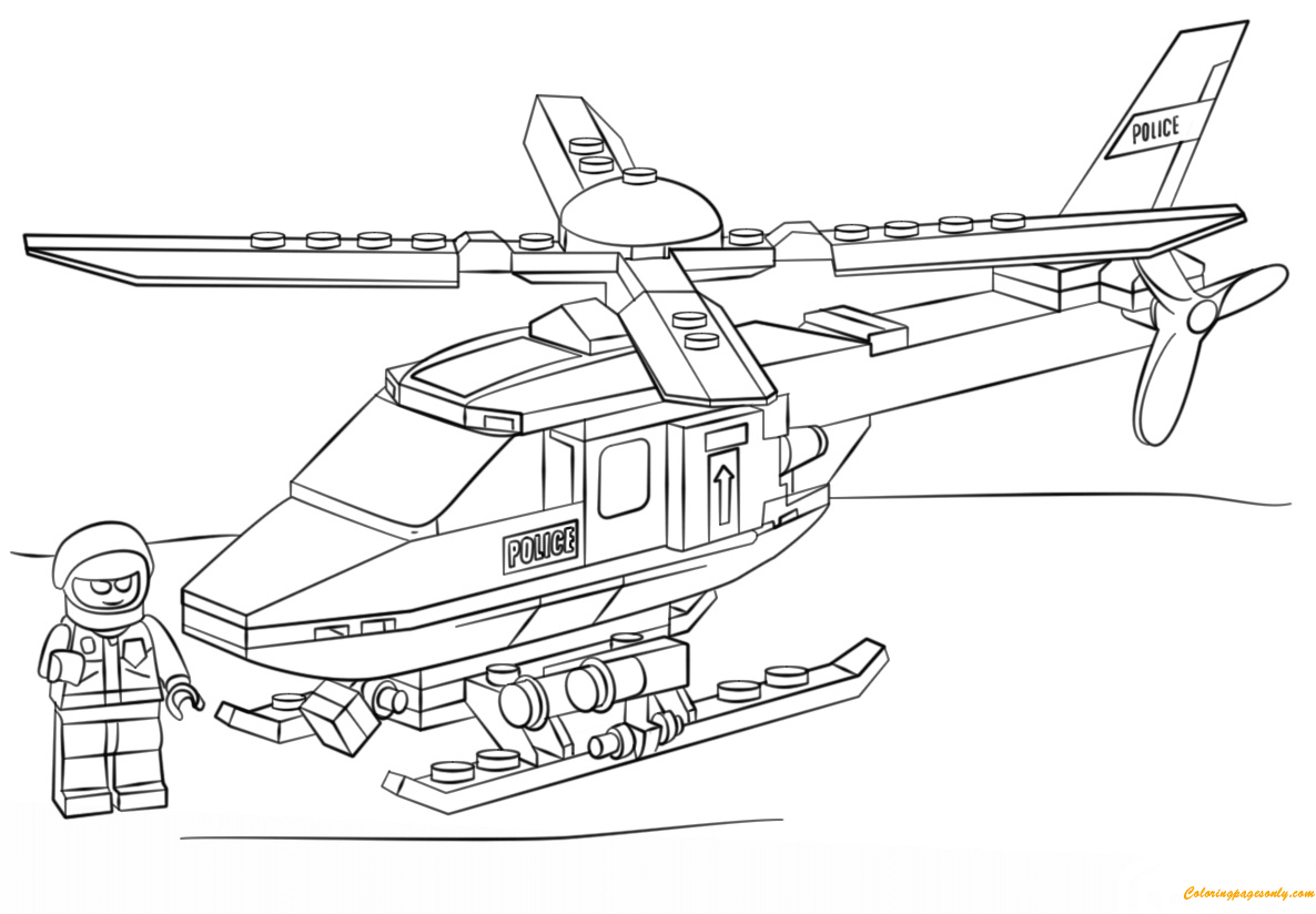 Lego City Police Helicopter Coloring