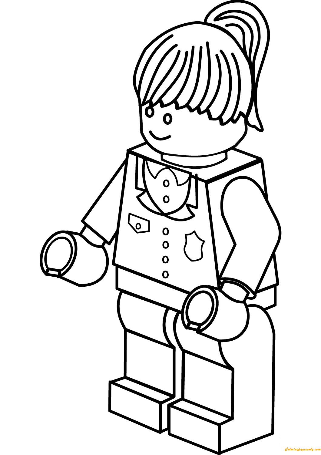 Lego City Police Woman Coloring Page Free Coloring Pages