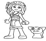 Lego Moana And Pig Pua Coloring Page