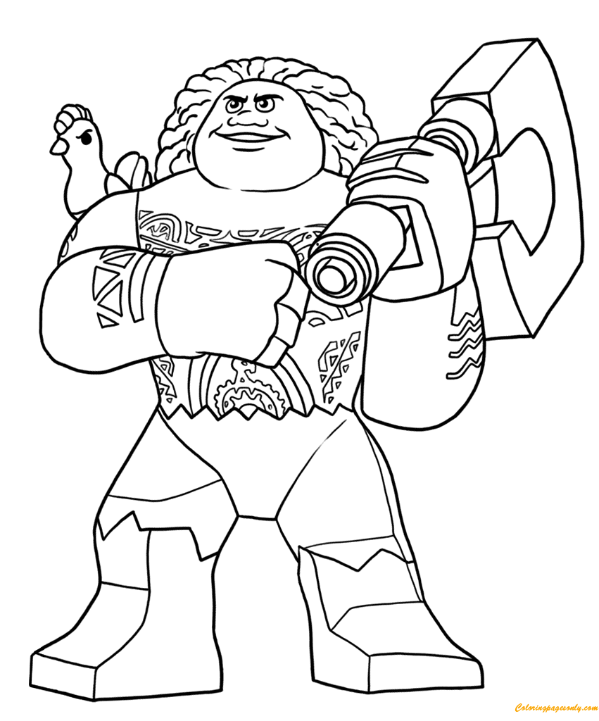 Lego Moana Disney Maui Coloring Page Free Coloring Pages