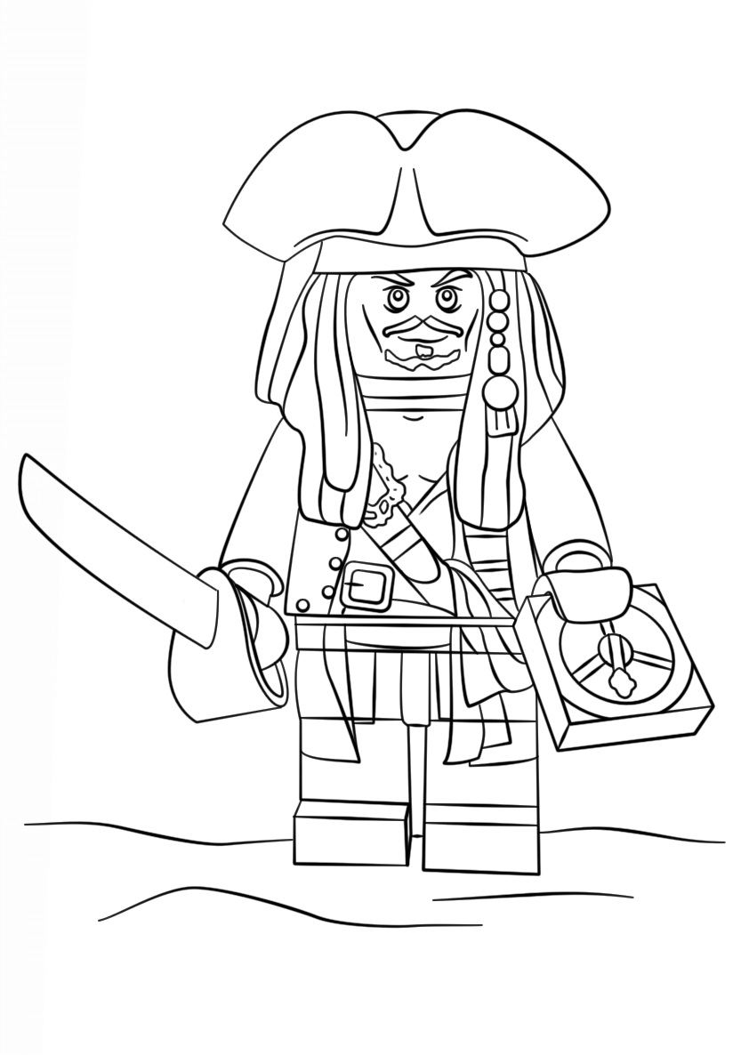 Lego Pirate Captain Jack Sparrow Coloring Page