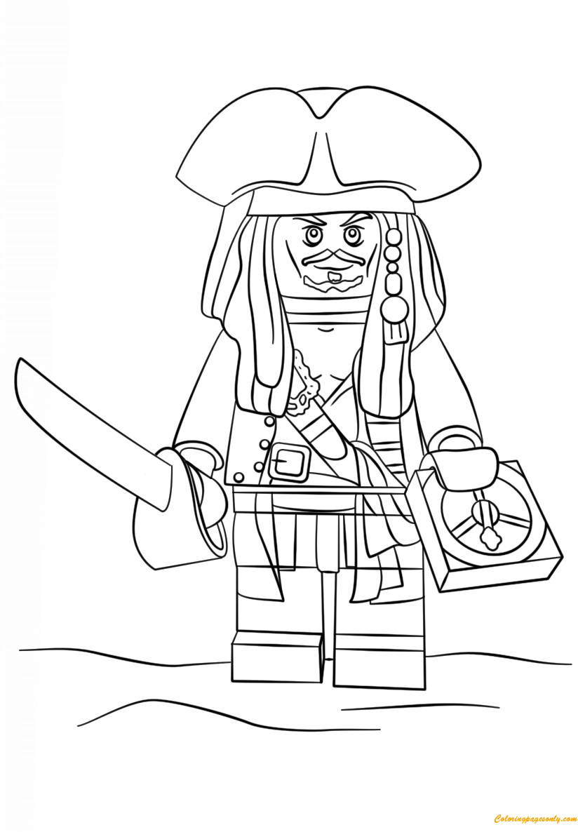 Lego Pirate Captain Jack Sparrow Coloring Page Free